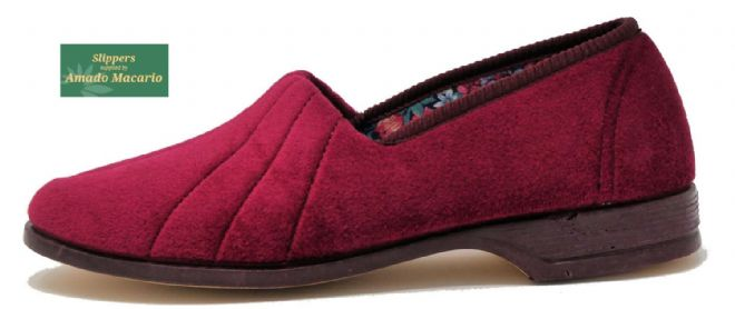 AUDREY' Ladies Velour Slippers with Rubber sole REGAL RED